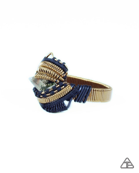 Size 11 - Quartz Yellow Gold & Stealth Silver Wire Wrapped Ring