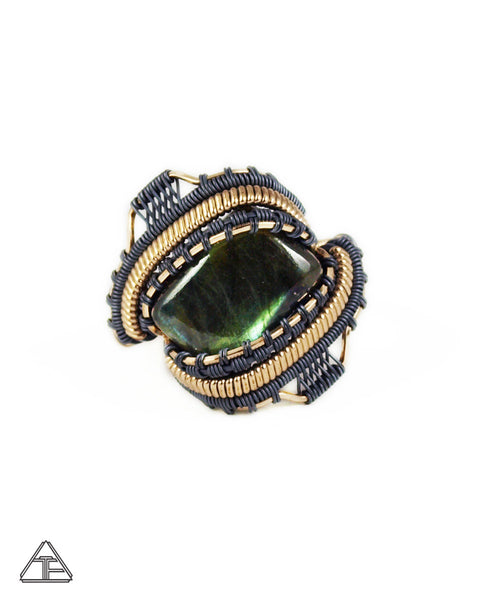 Size 10 - Labradorite Yellow Gold & Stealth Silver Wire Wrapped Ring