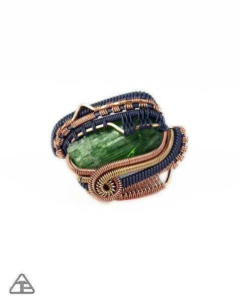 Size 12 - Tremolite Yellow + Rose Gold + Sterling Silver Wire Wrapped Ring
