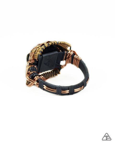Size 13.5 - Black Tourmaline Yellow + Rose Gold + Sterling Silver Wire Wrapped Ring