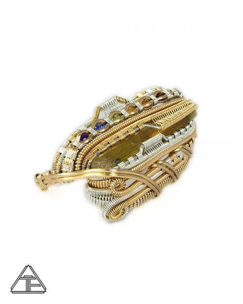 Size 9.5 and 11 - Heliodor + RGB gems Silver and Yellow Gold Wire Wrapped Double Ring