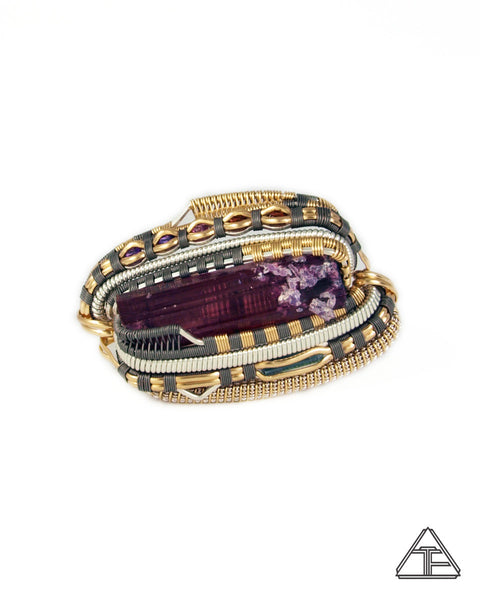 Size 6.5 and 7.5 - Tourmaline with Lepidolite Titanium + Yellow Gold Wire Wrapped Double Ring