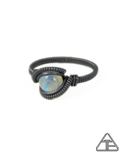 Size 8.5 - Moonstone Silver Wire Wrapped Ring