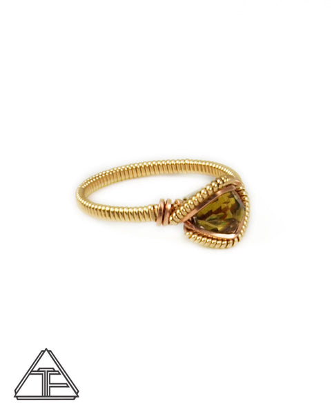 Size 9 - Sphene and Yellow + Rose Gold Wire Wrapped Ring