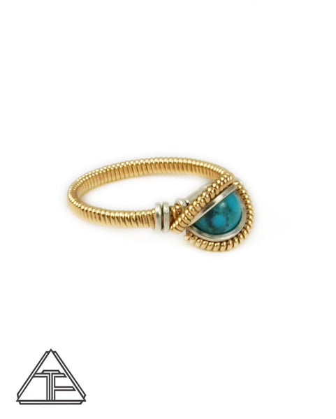 Size 7.5 - Turquoise and Yellow Gold Wire Wrapped Ring