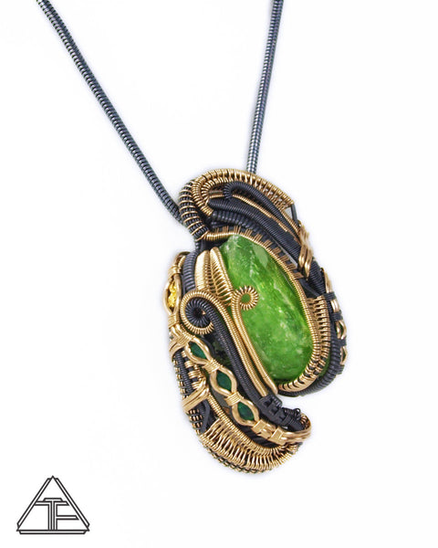 Vanadium Diopside + Emerald + Tsavorite Gold & Silver Wire Wrapped Pendant