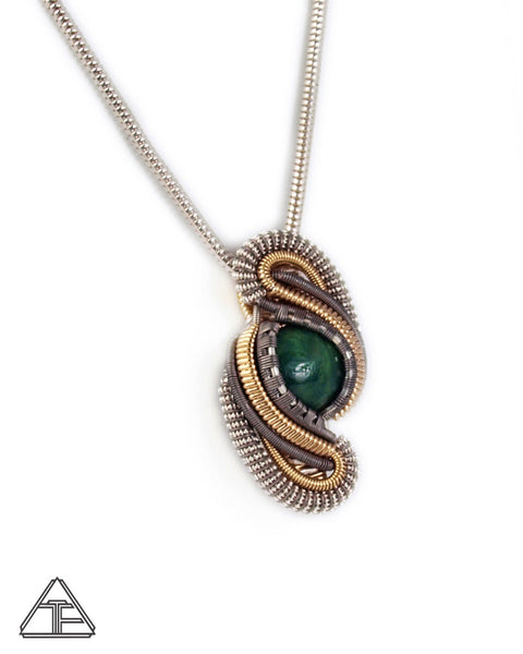 Jade Yellow Gold & Titanium Wire Wrapped Pendant