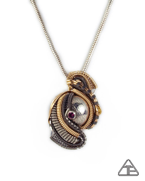 Garnet Yellow Gold & Titanium Hybrid Wire Wrapped Pendant