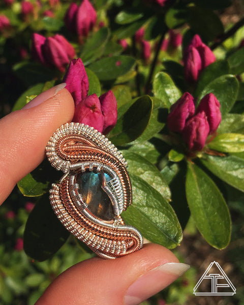Labradorite Rose Gold Sterling Silver Wire Wrapped Pendant