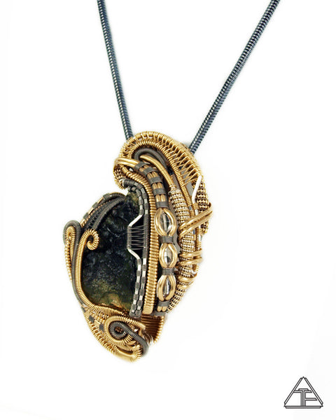 Moldavite + Herkimer Diamond + Gold & Titanium Wire Wrapped Pendant