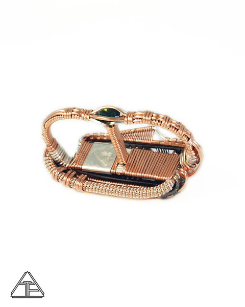 Size 9 and 10 - Tourmaline Titanium + Rose Gold Wire Wrapped Double Ring