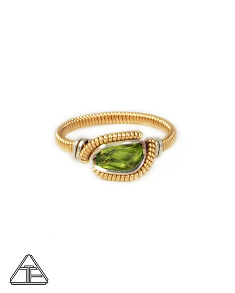 Size 6.5 - Peridot + Yellow Gold & Silver Wire Wrapped Ring