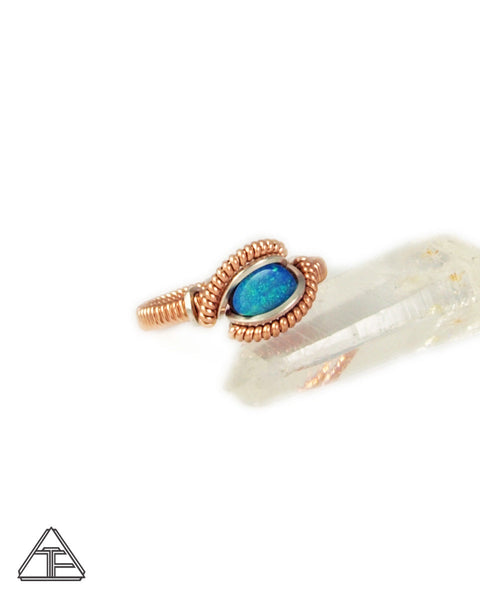 Size 4 - Opal Rose Gold & Silver Wire Wrapped Ring