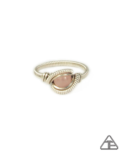 Size 7 - Rose Quartz & Silver Wire Wrapped Ring