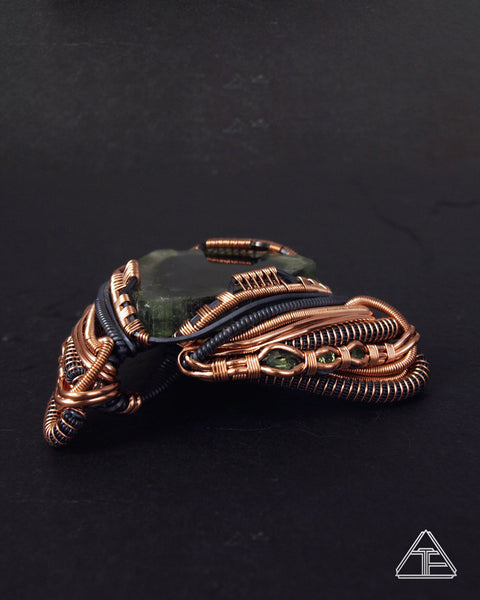 Black Core Tourmaline Slice + Tourmaline + Peridot Stealth Silver & Rose Gold Wire Wrapped Pendant