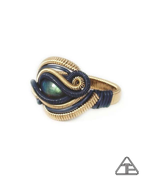 Size 8.5 - Labradorite Yellow Gold & Silver Wire Wrapped Ring