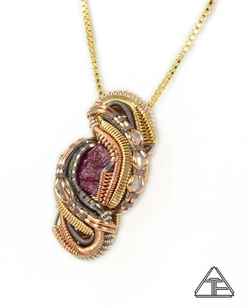 Ruby Titanium Yellow and Rose Gold Sterling Wire Wrapped Pendant