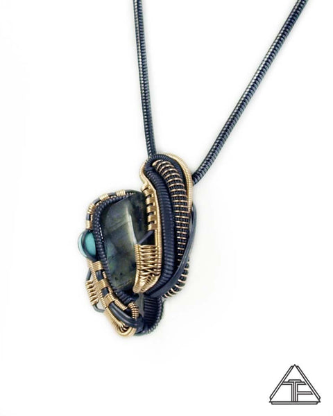 Labradorite and Turquoises Sterling Silver and Yellow Gold Wire Wrapped Pendant