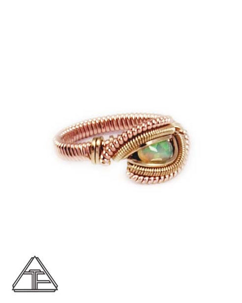 Size 5.5 - Opal Yellow and Rose Gold Wire Wrapped Ring
