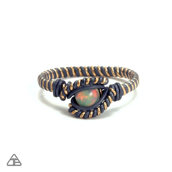 Size 8 - Fire Opal + Yellow Gold & Stealth Silver Wire Wrapped Ring
