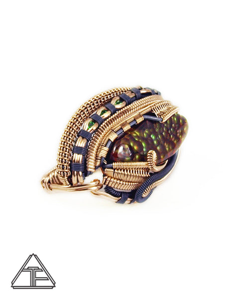 Size 5.5 and 7 - Fire Agate + Topaz + Tsavorite Gold & Silver Wire Wrapped Double Ring