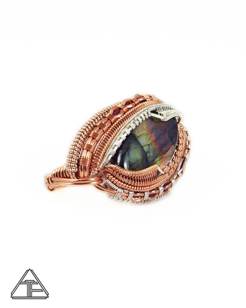 Size 8.5 and 10 - Labradorite + Rose Gold and Silver Wire Wrapped Double Ring