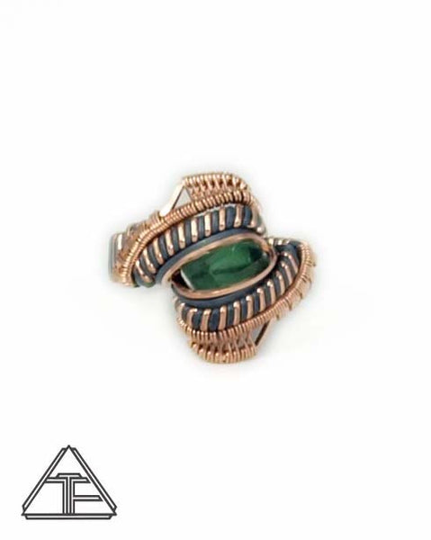 Size 7 - Tourmaline Rose Gold Silver Wire Wrapped Ring