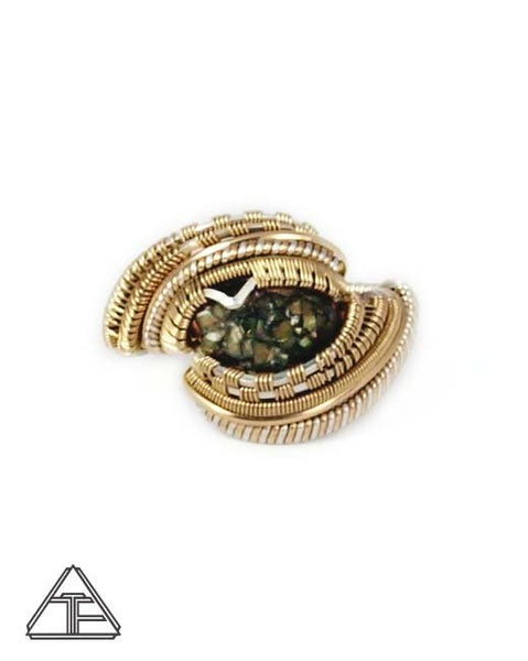 Size 11 - Rainbow Garnet Yellow Gold and Silver Wire Wrapped Ring