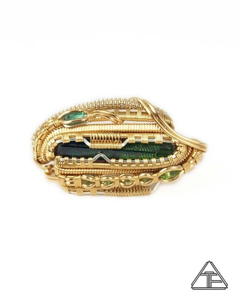 Size 7 and 8 - Tourmaline Sliver + Yellow Gold Wire Wrapped Double Ring