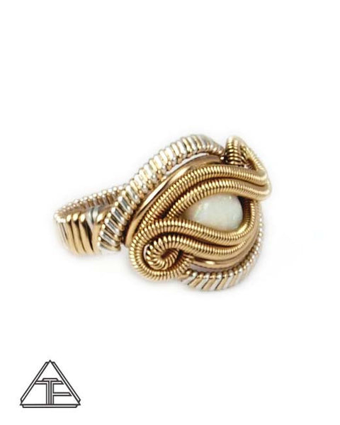 Size 6 - Opal Yellow Gold & Silver Wire Wrapped Ring