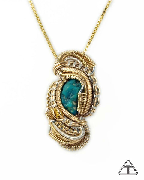 Turquoise + Gold Nugget + Aqua + Yellow Gold + Silver Wire Wrapped Pendant