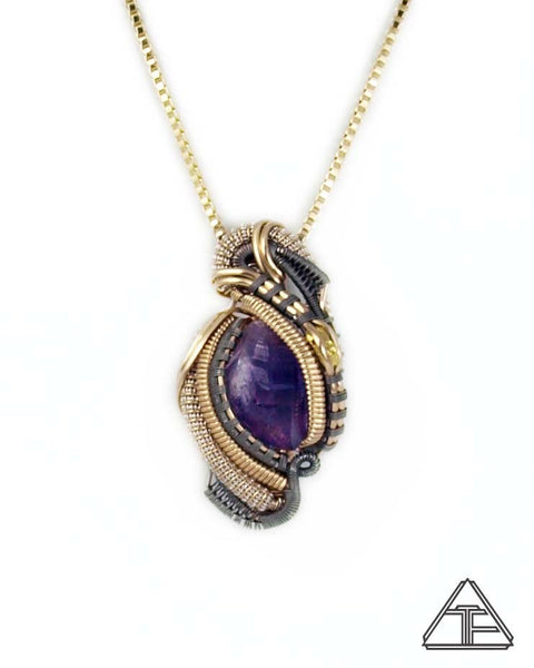 Amethyst Gold Nugget Titanium Yellow Gold and Silver Wire Wrapped Pendant