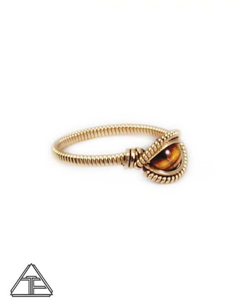 Size 8. - Tigers Eye Yellow Gold Wire Wrapped Ring