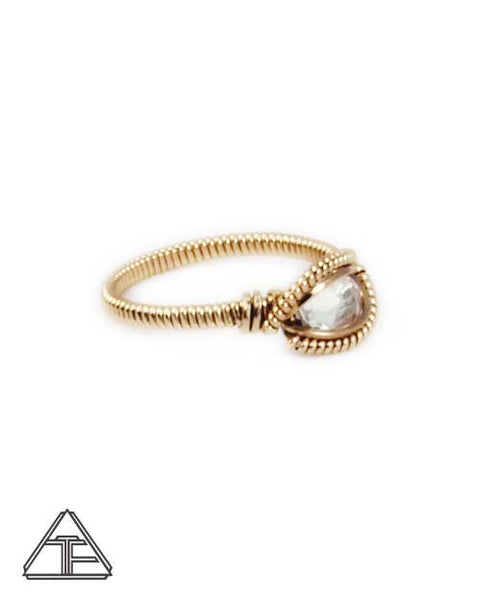 Size 6.5 - Topaz Yellow Gold Wire Wrapped Ring