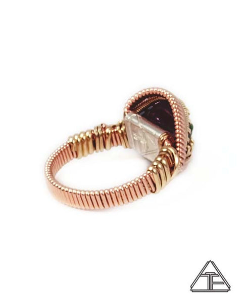 Size 7 - Watermelon Tourmaline Yellow and Rose Gold Wire Wrapped Ring