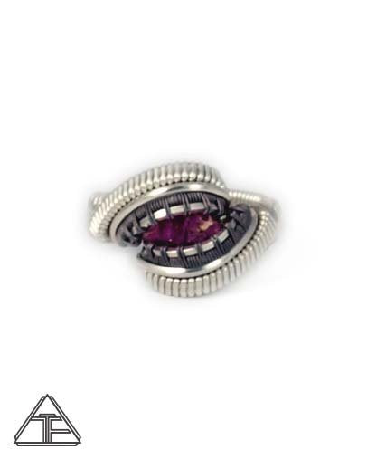 Size 4 - Ruby Sterling Silver & Titanium Wire Wrapped Ring