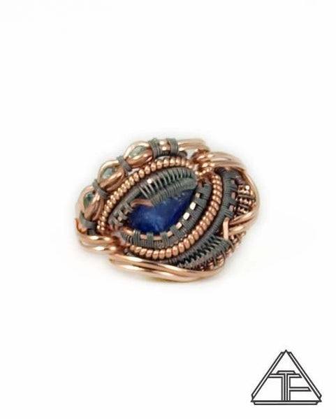 Size 6.5 - Tanzanite And Aquamarine Rose Gold Titanium Wire Wrapped Ring