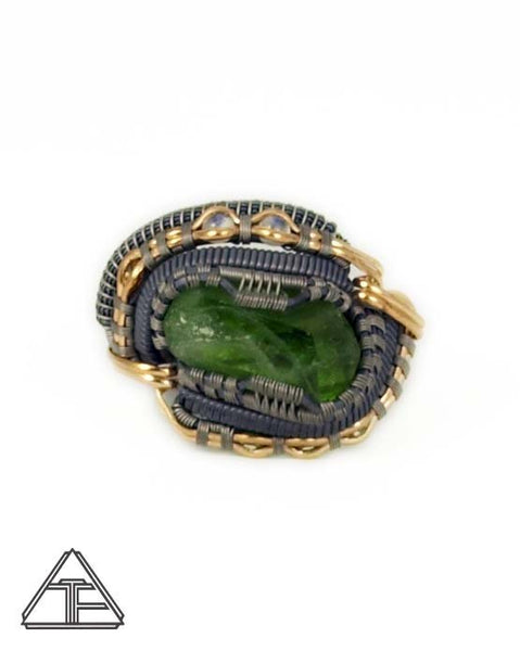 Size 13 - Peridot and Moonstone Yellow Gold Titanium Silver Wire Wrapped Ring