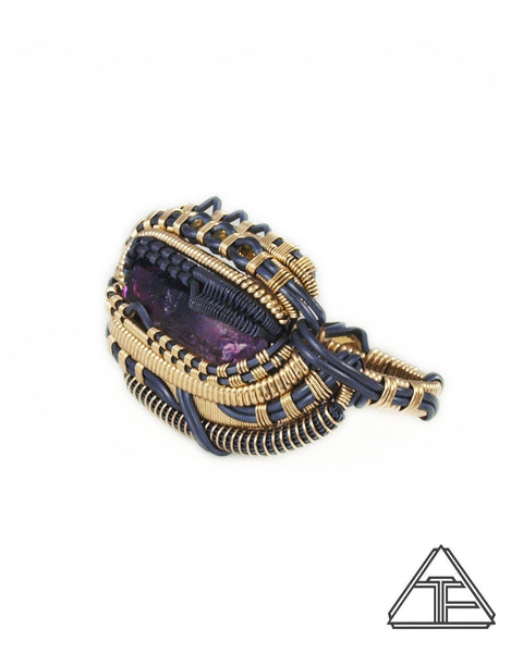 Size 7 and 8.5 - Amethyst Yellow Gold and Silver Wire Wrapped Double Ring
