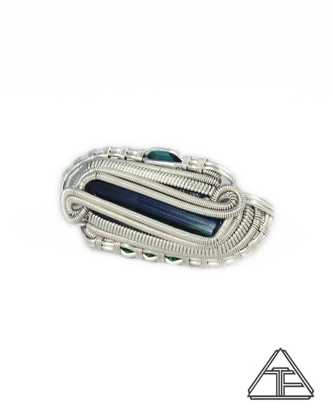 Size 6 and 7 - Indicolite Sterling Silver Wire Wrapped Double Ring
