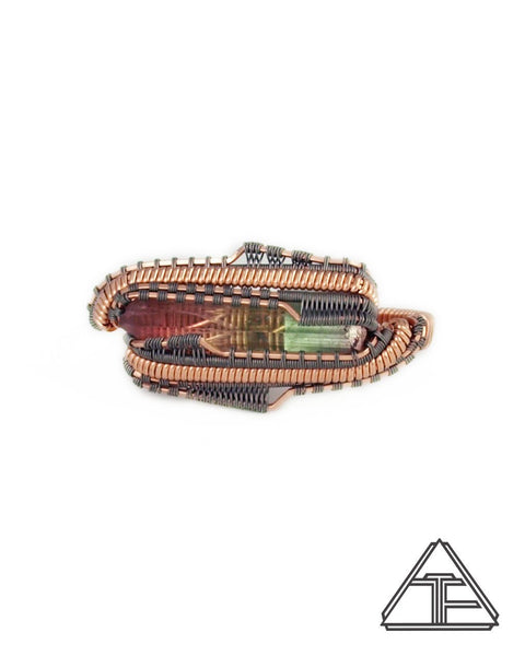 Size 6 and 6.5 - Tourmaline Rose Gold Titanium Wire Wrapped Double Ring