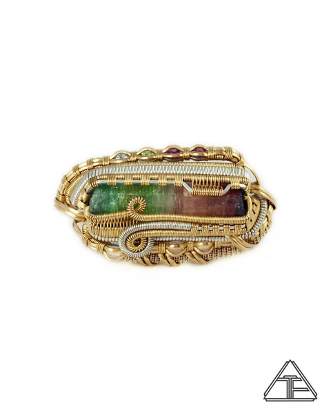 Size 8 and 9 - Tri-Color Tourmaline Yellow Gold and Silver Wire Wrapped Double Ring