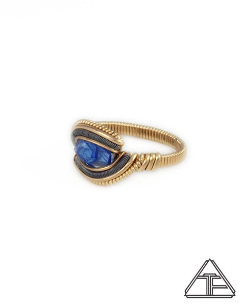 Size 7 - Tanzanite Yellow Gold & Titanium Wire Wrapped Ring