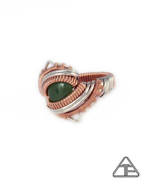 Size 6 - Jade Rose Gold & Silver Wire Wrapped Ring