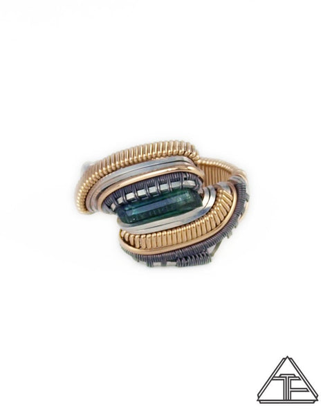 Size 8 - Green Tourmaline Yellow Gold + Silver + Titanium Wire Wrapped Ring