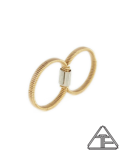 Size 6.25 and 7.25 - Yellow Gold Wire Wrapped Double Ring