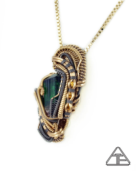 Tourmaline Gold Nugget Citrine Yellow Gold Titanium Wire Wrapped Pendant