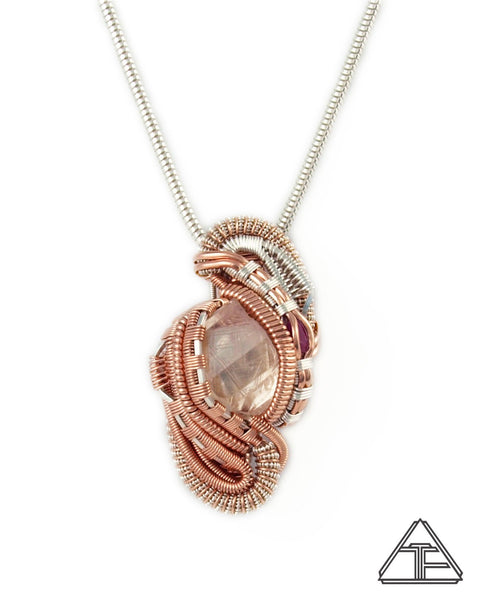 Topaz and Ruby Silver and Rose Gold Wire Wrapped Pendant