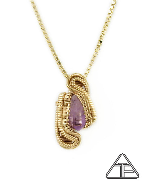 Veracruz Amethyst Yellow Gold Wire Wrapped Pendant