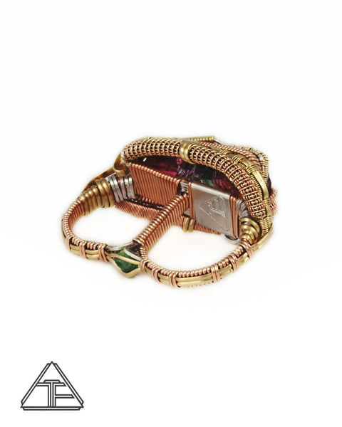 Size 8.5 and 9.5 - Barro Do Salinas Tourmaline Rose Gold and Yellow Gold Wire Wrapped Double Ring